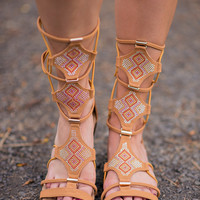 Bling Bling Strappy Tan Gladiator Sandals