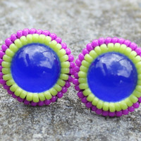 Blue Earrings, Pink Stud Earrings, Navy Blue, Cute, Beaded, Embroidered, Colorful Earrings, Nickel-free Lead-free Post, Gift, Christmas Gift