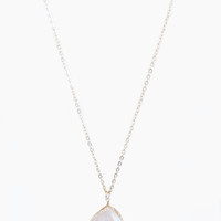 Gold Encrusted Blush Stone Necklace - Necklace