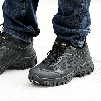 Outdoor Hiking Shoes Men Military Tactical Boots Black Tactico Shoe For Climbing Breathable Lightweight Mountain Shoes Non-Slip