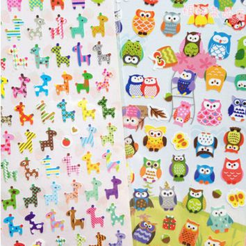1 Sheet Owl Giraffe Print Toys Sticker Cute Drawing Market Diary Transparent Scrapbooking Calendar Album Deco Sticker