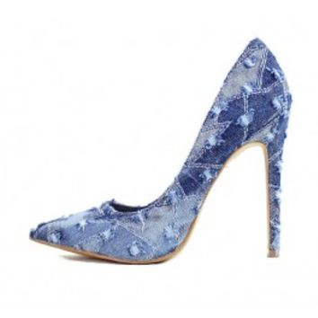 Shoe Republic Vince Blue Denim Pointy Toe Pumps wowtrendz