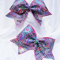 Cheer bow - Mulit colored spin art with sequins holographic fabric.cheerleader bow - dance bow -cheerleading bow