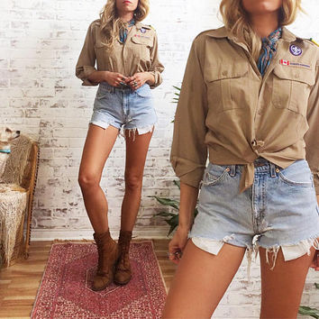 Vintage 1970's BOY SCOUTS Of Canada Vintage Shirt || Youth L or Ladies S