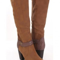 Camel Smooth Faux Suede Strap Decor Riding Boots @ Amiclubwear Boots Catalog:women's winter boots,leather thigh high boots,black platform knee high boots,over the knee boots,Go Go boots,cowgirl boots,gladiator boots,womens dress boots,skirt boots,pink boo