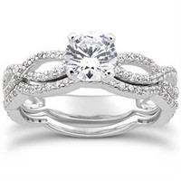 Intertwined Diamond Engagement Ring 1.00 CT Infinity Style Matching Wedding Band 14K White Gold Size (4-9)