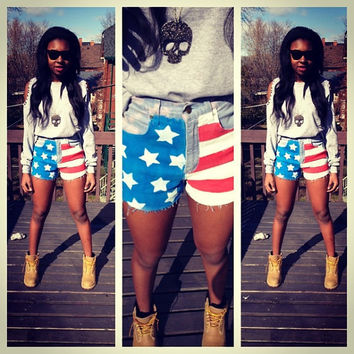 American flag shorts by thrifteebytehilah on Etsy