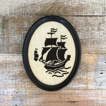 Embroidery Wall Art Ship Cross Stitch Framed Pirate Ship Cross Stitch Embroidery Nautical Wall Hanging Needlepoint Wall Hanging Cottage Chic