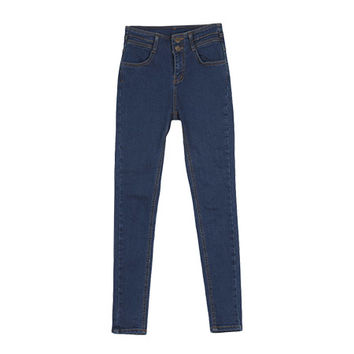 Double Buttoned High-Waist Blue Skinny Jeans