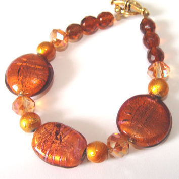 Copper Glass Beaded Bracelet Lampwork Coppery Glimmer Drizzle Beads Czech Crystal Women Jewelry