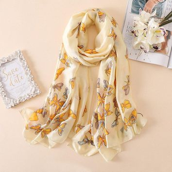 Luxury Brand Women Summer Scarf Soft Butterfly Print Silk Scarves Lady Shawls Wrap Pashmina Bandana Beach Stoles Hijab