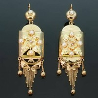 Victorian Gold Pearls Dangle Earrings