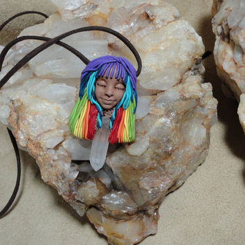 Quartz Crystal chakra goddess Pendant Chakra Rainbow energy Necklace Sam Art Clay Jewelry