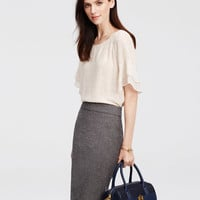 Petite Geo Tiered Ruffle Sleeve Top | Ann Taylor