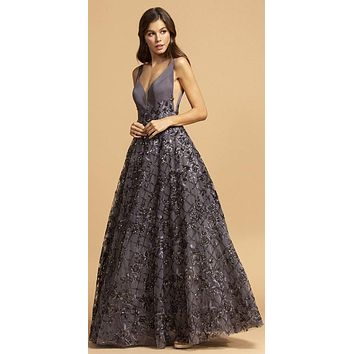 A-Line Ball Gown Long Charcoal V Neckline Side Insets Open Back