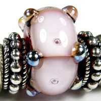 Red And Pink Large Hole Lampwork Bracelet Charm Bead With Aurae Dots