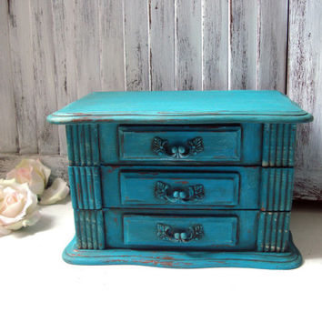 Antique Aqua Vintage Jewelry Box, Rustic Turquoise Jewelry Holder, Distressed Wooden Jewelry Chest, Aqua Blue Jewelry Box, Gift Ideas
