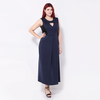 Plus Size O-neck Dresses Sleeveless Long Dresses Front Hollow Out Dresses