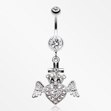 Ultra Bright Crowned Angel Heart and Cross Belly Button Ring