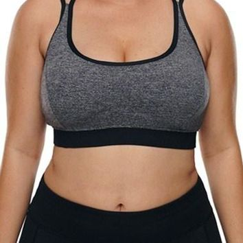 Grey Plus Size Cross-strap U-shaped Neck Sport Bras