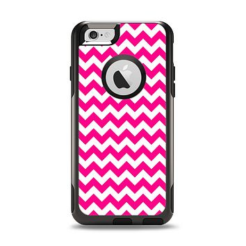 The Pink & White Chevron Pattern Apple iPhone 6 Otterbox Commuter Case Skin Set