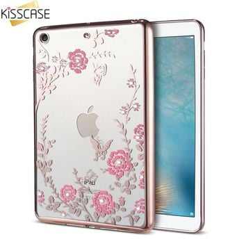 KISSCASE Luxury Ultra Thin Cute Glitter Flower Cases For Apple iPad Mini 1 2 3 4 Case For iPad Air 1 2 Case For iPad 5 6 Cases