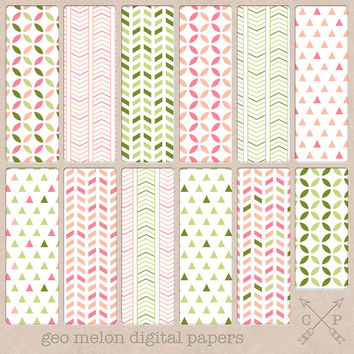 Pink and bright green digital paper pack.Geometric patterns chevrons triangles pyramids for scrapbooking graphic design blog backgrounds etc