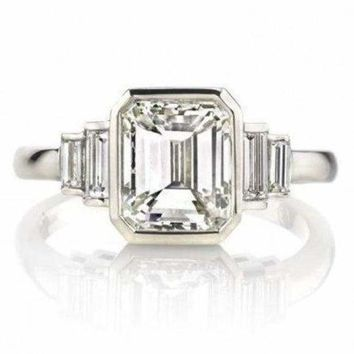 2.23 ct Certified Emerald Cut Baguette Diamond Ring 14K White Gold by Luxinelle® Jewelry