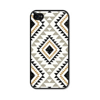 Geometric iPhone 4 Case - iPhone 4s Case - Tribal Southwest - Black White Tan Case For Him