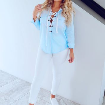 All Laced Up Blouse: Chambray