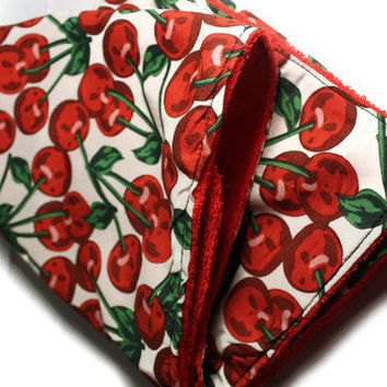 Rockabilly Cherry Print BURP CLOTH by DeathwishDesign on Etsy