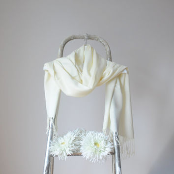 Pale Yellow Shawl, Very Light Yellow Wrap, Wedding Shawl, Solid Color Cotton Scarf, Bridal Shawl, Bridesmaid Gift,  Soft Fine Pashmina