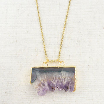 Amethyst Druzy Necklace - Purple Lavender Gray Geode Gold Natural Stone Rough Gemstone Pendant Jewelry
