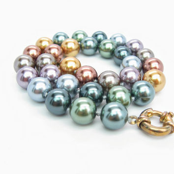 Pearl Necklace. Vintage Multi Color Carolee Jewelry. Bronze Green Silver Gold Simulated Pearls. Hand Knotted. Single Strand. 1980s Jewelry.