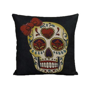 Day of the Dead Sugar Skull Throw Pillow Cover