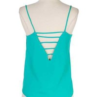 Teal Cut Out Back Sleeveless Shirt