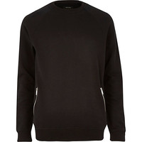 River Island MensBlack zip pocket sweatshirt