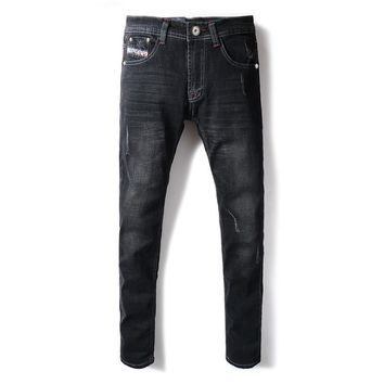 2018 New Fashion Men's Jeans Black Color Casual Pants Elastic Skinny Fit Classical Jeans Stretch Balplein Brand Ripped Jeans Men