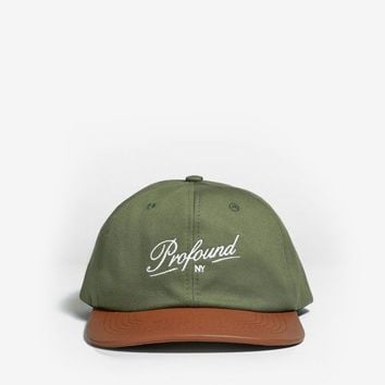 Leather Brim Six Panel Hat in Olive