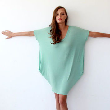 Fresh mint tunic , Oversize tunic dress , Short sleeves dress , Summer fashion short dress, Knit dress with short sleeves
