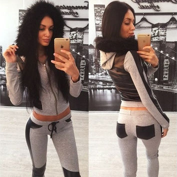 Women's Tracksuits 2015 Fashion Fur Collar Hooded Winter Jacket Patchwork Jogging Suits For Women Tracksuit Suit [9305838215]