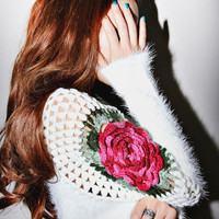 Crochet Flower Sweater from ShopWunderlust