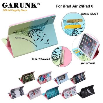 Case for iPad Air 2, GARUNK Printed Cute Leather Cover With Card Slots Protective Shell for Apple iPad Air 2 iPad 6 Tablet 9.7''