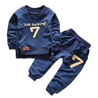 Fall Winter 2pcs Toddler Kids Baby Boy T-shirt Tops+Long Pants Outfit Clothes Set Suit #2358