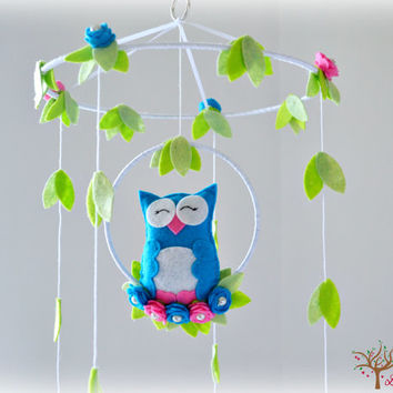 Owl mobile - Woodland - baby mobile - nursery decor - purple, ivory, white, green - felt roses - MADE TO ORDER