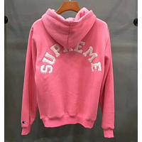 Champion X Supreme Fashion Embroidery Long Sleeve Hoodie Velvet Top Sweater Pullover Pink I-YQ-ZLHJ