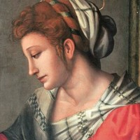 Francesco Ubertini, il Bacchiacca (Florence 1494-1557) , A female saint, bust-length, in a red dress with a white headdress