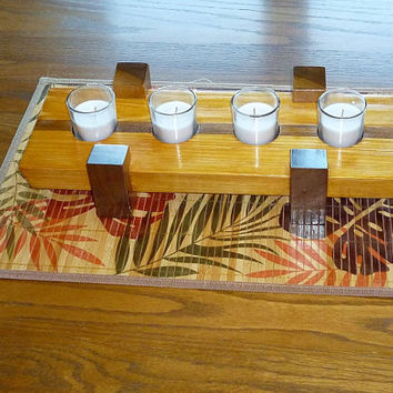 Wood Centerpiece with Four Glass Votive Candle Holders