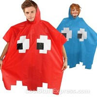 Pac-Man Video Game Rain Poncho in Red, Fun & Unique Gifts