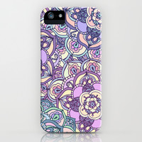 Aqua, Pink and Purple Doodled Pattern iPhone & iPod Case by Tangerine-Tane